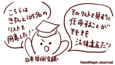 日本学術会議は推薦リストは105名だったと主張